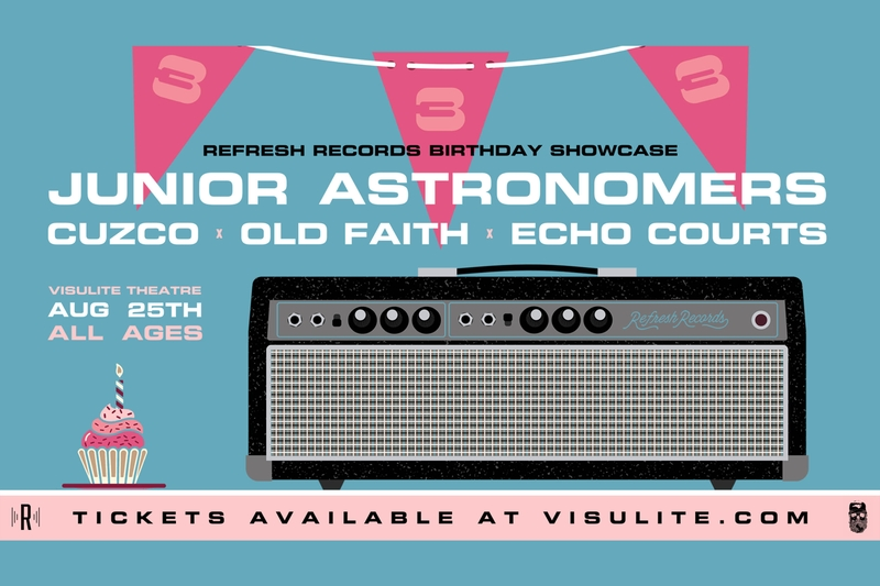 REFRESH RECORDS BIRTHDAY SHOWCASE FEATURING: JUNIOR ASTRONOMERS - Saturday, August 25, 2018 at Visulite Theatre