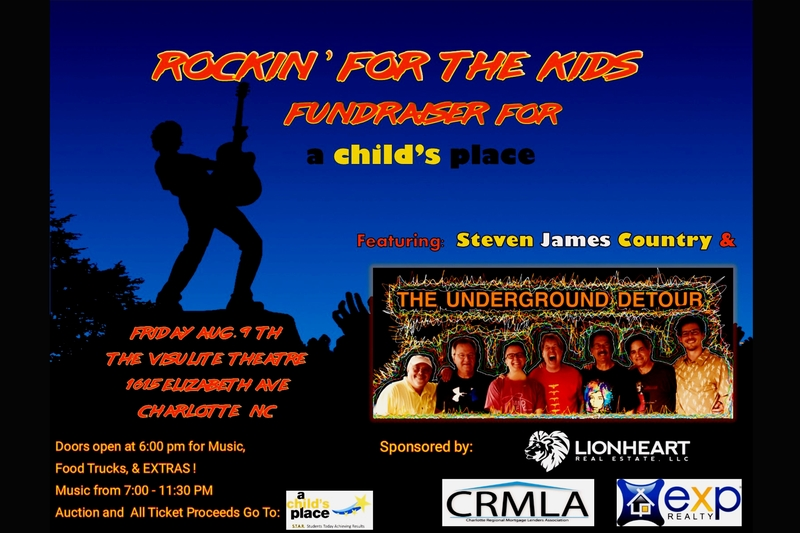 ROCKIN' FOR THE KIDS - Fundraiser For a child's place Featuring: UNDERGROUND DETOUR BAND - Friday, August 9, 2019 at Visulite Theatre